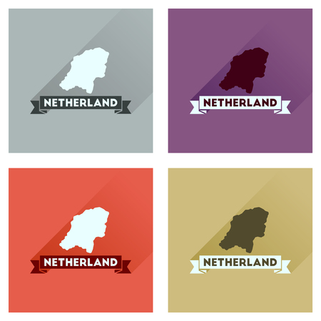 netherlands map: Concept flat icons with long  shadow Netherlands map Illustration