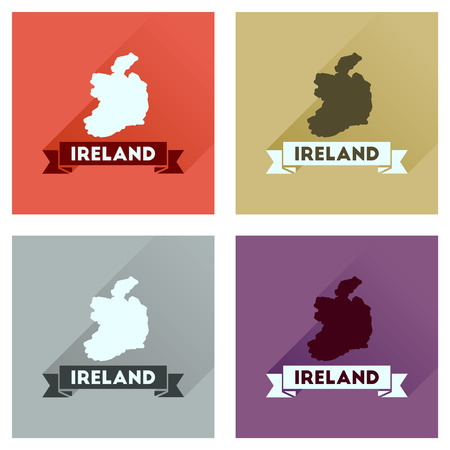 ireland map: Concept flat icons with long  shadow Ireland map