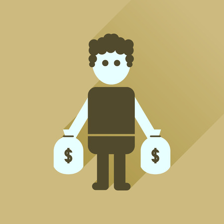 Flat icon with long  shadow man bags of money