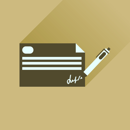 chequebook: Flat icon with long  shadow bank check