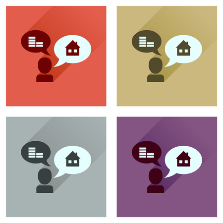 ideally: Concept flat icons with long  shadow people money home