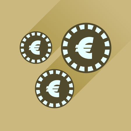 euro coins: Flat icon with long  shadow Euro coins