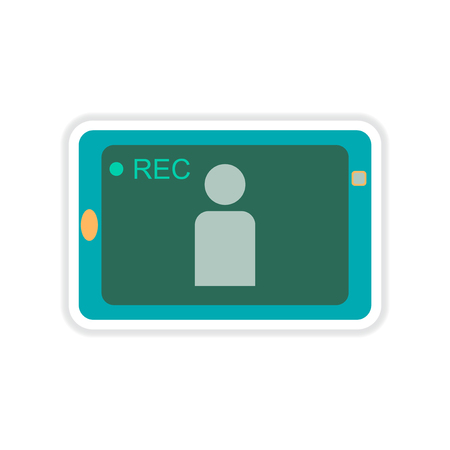 cinema viewing: paper sticker on white  background mobile phone video