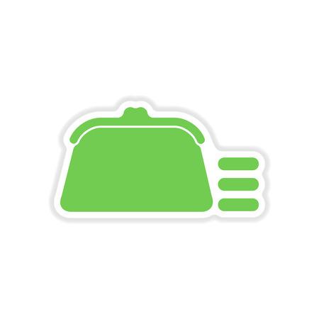 change purse: paper sticker on white  background coin purse