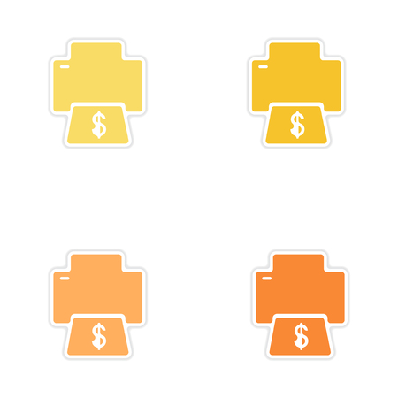 Set of paper stickers on white  background money printing