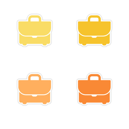 Set of paper stickers on white  background business case