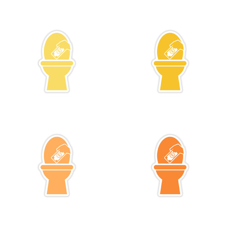 Set of paper stickers on white background money toilet