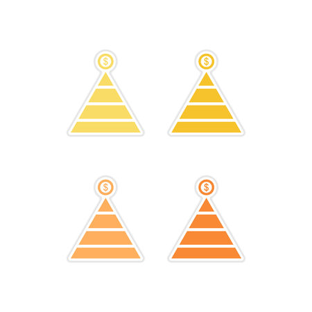pyramidal: Set of paper stickers on white  background financial pyramid