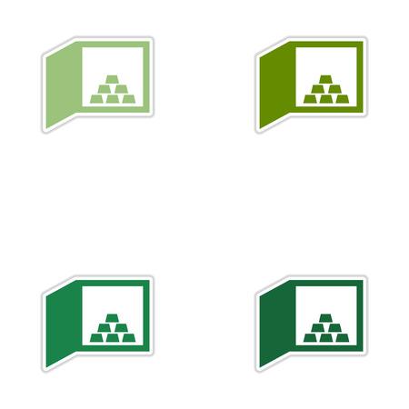 bullion: Set of paper stickers on white  background gold bullion in safe Illustration