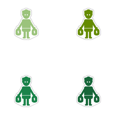 oligarchy: Set of paper stickers on white  background man bags of money