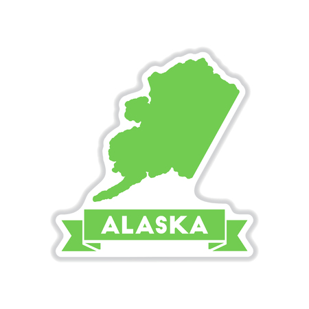 alaska map: paper sticker on white  background Alaska map Illustration