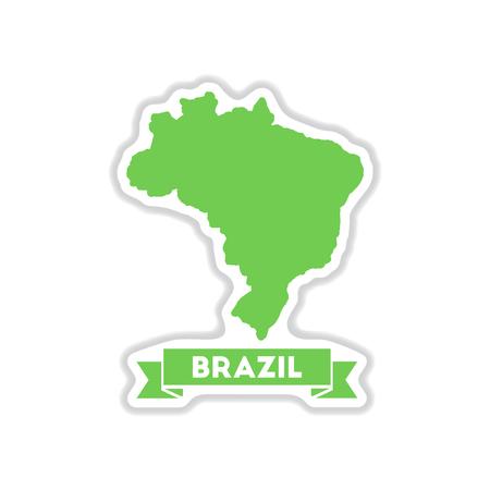 brazil map: paper sticker on white  background Brazil map