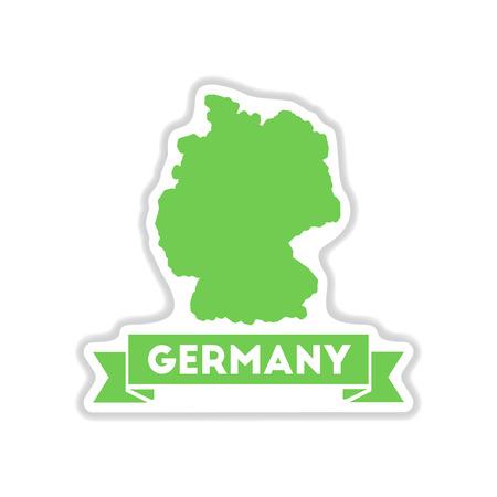 Papier-Aufkleber auf weißem Hintergrund Deutschland-Karte