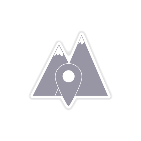 rocky road: paper sticker on white  background mountain location