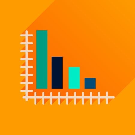 economic: Flat icon with long  shadow economic graph Illustration