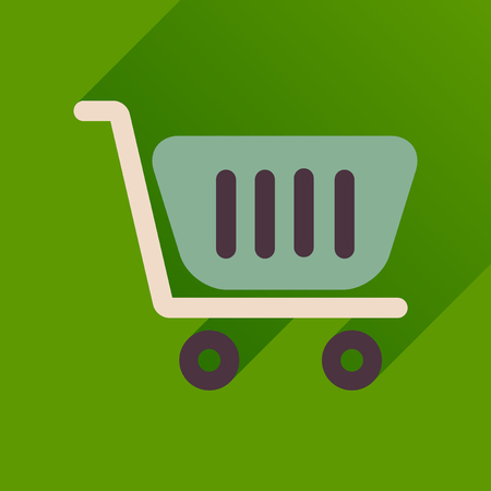 Flat icon with long  shadow shopping cart Illustration