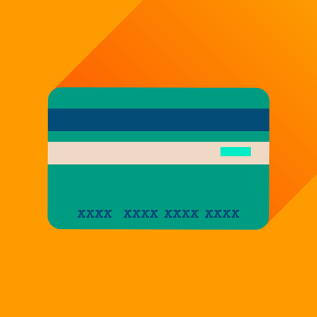 transact: Flat icon with long  shadow bank card