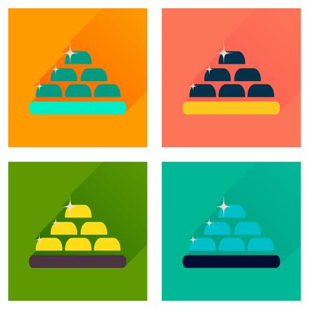 bullion: Concept of flat icons with long  shadow gold bullion