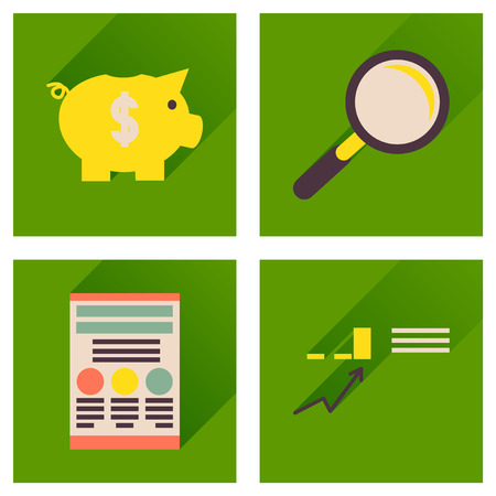 bank manager: Concept of flat icons with  long shadow  economy Illustration