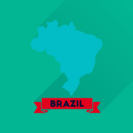 brazil map: Flat icon with long  shadow Brazil map