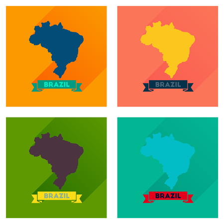 atlantic city: Concept flat icons with long  shadow Brazil map