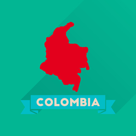 columbia: Flat icon with long  shadow Columbia card