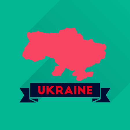 Flat icon with long  shadow map of Ukraine Illustration