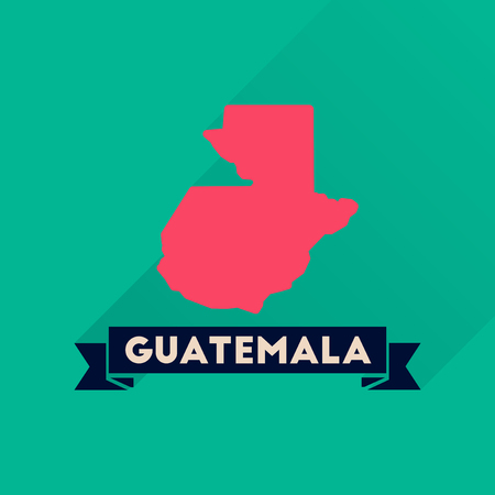 national geographic: Flat icon with long  shadow Guatemala map