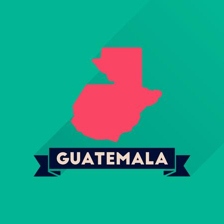 guatemalan: Flat icon with long  shadow Guatemala map