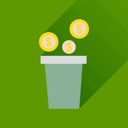 shareholder: Flat icon with long  shadow pot of coins