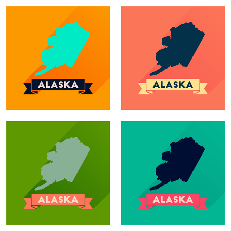 alaska map: Concept of flat icons with long  shadow Alaska map