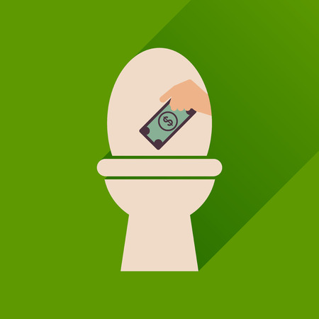Flat icon with long  shadow toilet money Illustration