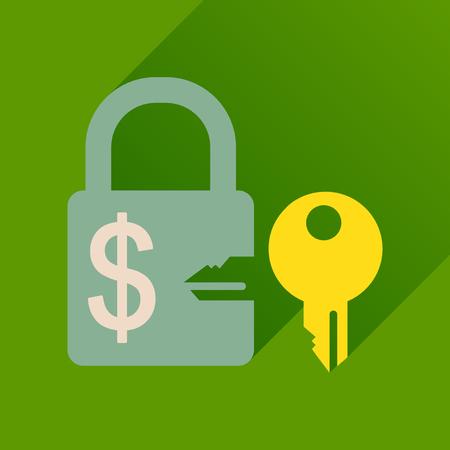 key in lock: Flat icon with long  shadow key lock Illustration