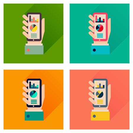economic: Concept flat icons with long  shadow economic presentation