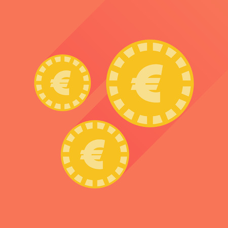 succes: Flat icon with long  shadow Euro coins