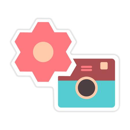digicam: paper sticker on white  background camera settings Illustration