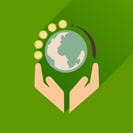 continental: Flat icon with long  shadow Earth hands Illustration