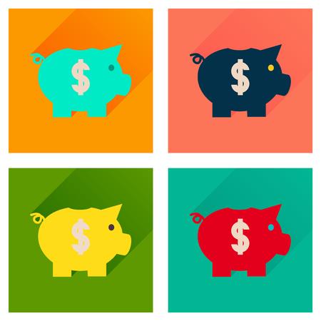 dolar: Concepto de iconos planos con larga sombra de dinero alcancía