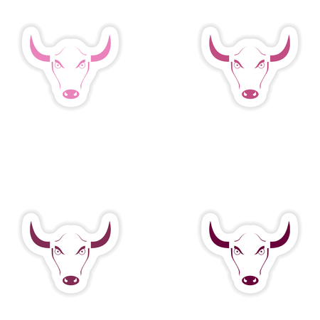 Set of paper stickers on white background  Bull Illustration