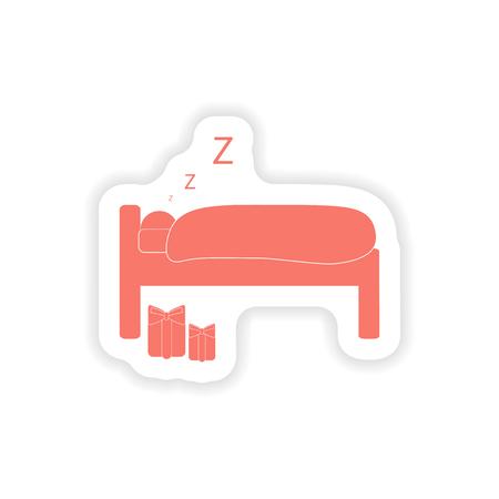 sleeping man: paper sticker on white background  sleeping man