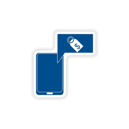 phone money: paper sticker on white background  mobile phone money Illustration