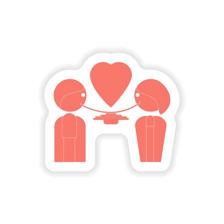 dinner date: paper sticker on white background  lovers eating