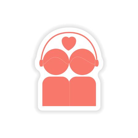 paper sticker on white background  couple listening music