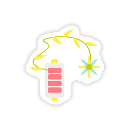 nickel: paper sticker on white background  mobile battery