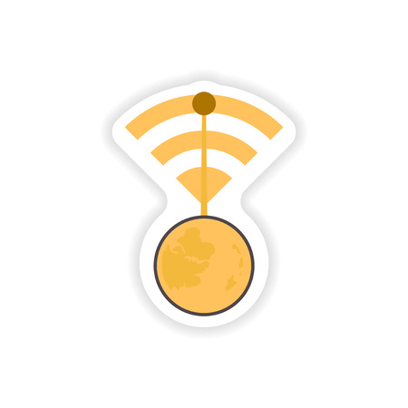 paper sticker on white background   WiFi router