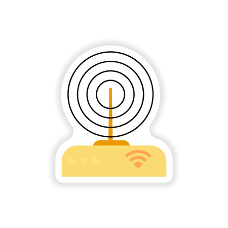 paper sticker on white background   WiFi  router Illustration