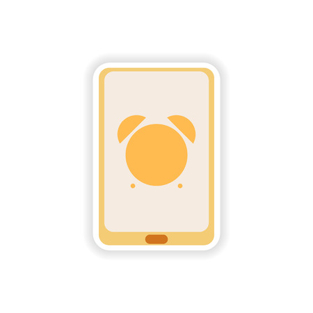 touchphone: paper sticker on white background  Mobile Phone alarm clock Illustration