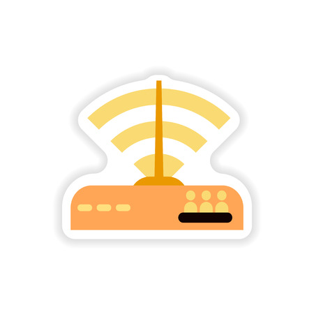 paper sticker on white background   Wi Fi router Illustration