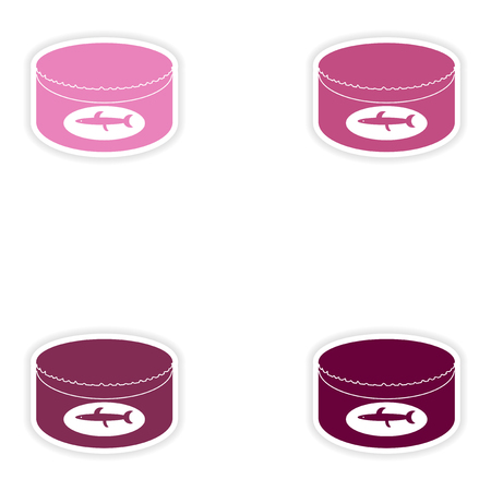 conserved: Set of paper stickers on white background   Canned fish Illustration