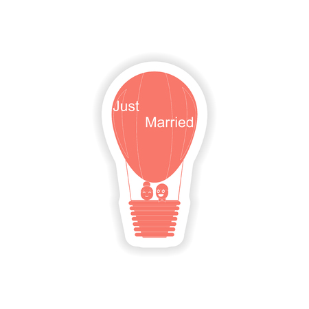 hot wife: paper sticker on white background air balloon groom bride